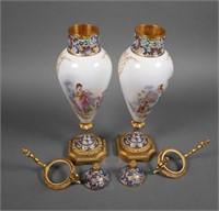 Pair Sevres Porcelain Urns, Ormolu Mounted