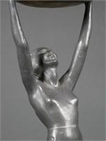 Frankart Art Deco Nude Woman Smoking Stand Ashtray