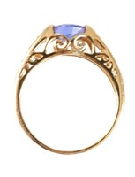 14K Yellow Gold TANZANITE DIAMOND Ring
