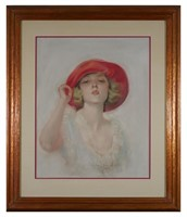 JOHN BRADSHAW CRANDELL, Pastel, Woman with Hat