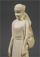 Vintage Carved Ivory Indian Woman