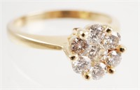 14k Gold Diamond Ring, Size 7