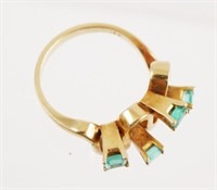 18k Gold Emerald Ring, Size 6
