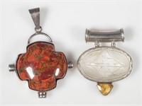 Two OBSIDIAN Designer Contemporary Pendants
