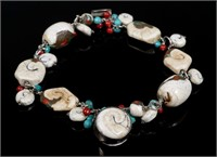 Contemporary Sterling & Fossil Bracelet