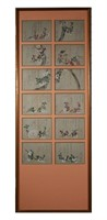 (12) Japanese Silk Painting Panels, Floral