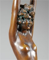 Art Deco NUDE Bronzed Ash Tray Stand