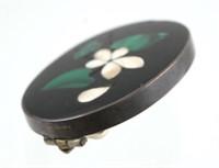 Victorian Pietra Dura Silver Pin