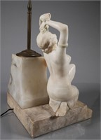 Art Deco Egyptian Alabaster Figural Lamp