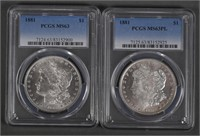 (2) 1881 Morgan Silver Dollars $1