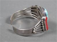 Navajo Sterling Silver Turquoise Coral Bracelet