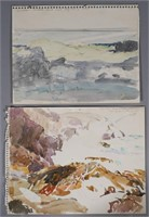 JAY CONNAWAY, (2) Watercolor Seascape Studies