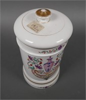 Antique French Porcelain Apothecary Lidded Jar