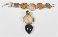 Sterling Silver Bracelet & Pendant, Fossils