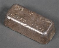 SILVER BAR .999 Hand Poured 10.50 ozt