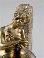 Art Deco Gilt Bronze Nude Statue