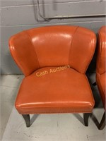 2 Chairs, Faux Orange Leather