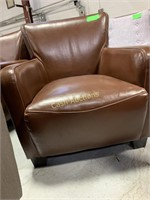 2 Chairs, Brown Faux Leather