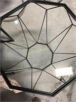 3 Tables, Glass Top, Black Aluminum Base