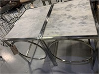 2 Tables, Marble Style Top, Silver Aluminum Legs