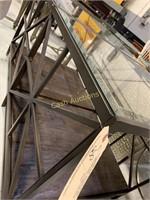 2 End Tables, Glass Top, Veneer Wood Shelf