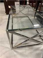 Table, Glass Top, Silver Aluminum Base