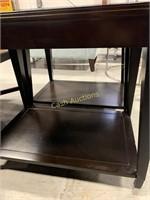 2 End Tables, Wood Veneer w/Mirror Top