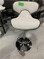 2 White Bar Stools with Adjustable Pedal