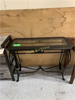 Side Table, Black Metal w/Glass Top