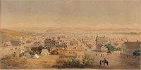 "Important George Henry Burgess (British-American, 1831-1905) original watercolor view of San Francisco, signed, inscribed, and dated ""1869"" lower right, from the estate collection of Russell and Doris Evitt, Jackson, CA"