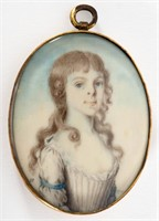 """James Peale miniature portrait of a girl, signed and dated """"1791"""", Swinehart Collection"""