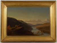"""Thomas Hill (British-American, 1829-1908) oil on canvas landscape, likely a New England scene, dated """"1855"""", from the Evitt Collection"""