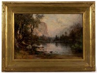 Thomas Hill (British-American, 1829-1908) oil on board Yosemite landscape, depicting Mirror Lake, from the Evitt Collection