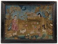 "Rare Boston ""Fishing Lady"" needlework, Swinehart Collection, ex-Hubers"