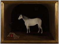 """19th-century American folk art oil on canvas equine portrait, depicting """"Young America"""", signed and dated """"M. H. Richards / 1869"""""""