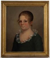 American School (19th century) folk art oil on poplar panel portrait of a boy