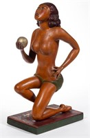 "Fine ""Bathing Beauty"" carved figure (c. 1930), Swinehart Collection"