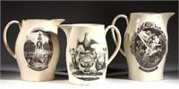 Liverpool creamware transfer-printed jugs