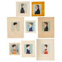 Important group of eight folk art watercolor profile portraits (c.1810) of the Brock Family of Madison Co., VA, fresh to the market, descended directly in the family