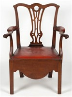 Baltimore, MD Chippendale carved mahogany necessary chair