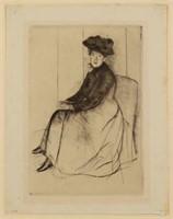 "Mary Cassatt (American, 1844-1926) ""Reflection"" drypoint (c.1890)"