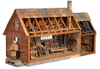 """Monumental John L. Heatwole (1948-2006) carving, """"Southern Appalachian Gunsmith's Shop"""", commissioned by Gordon and Marge Barlow, 1990"""