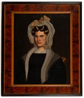 Milton Hopkins (American, 1789-1844) folk art oil on panel portrait of a woman, possibly Ohio, Swinehart Collection