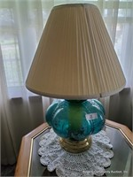 Handpainted Blue Floral Pattern Lamp