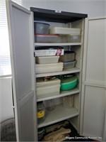 Plastic Cabinet & Tupperware Contents