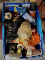 3 Boxes of Car Cleaning Supplies, Tapes, Levels &