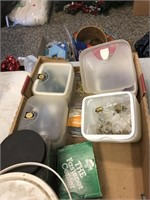Box Lot of Assorted Color Light Bulbs & Hardware