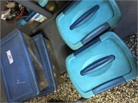 4 Plastic Totes of Misc Hardware