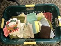 Green Basket of Kitchen Towels