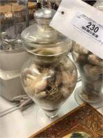 2 Glass Jars of Seashells